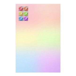 Macro Rainbow Roses Custom Stationery