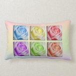 Macro Rainbow Roses Pillow