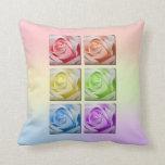 Macro Rainbow Roses Pillows