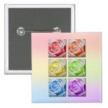 Macro Rainbow Roses Pin