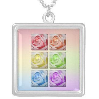 Macro Rainbow Roses Square Pendant Necklace