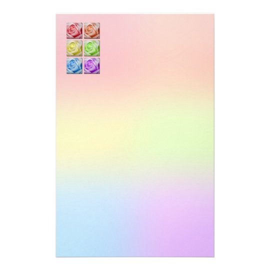 Macro Rainbow Roses Stationery