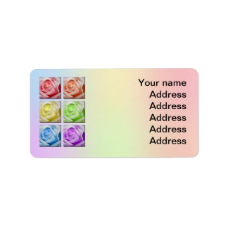 Macro Rainbow Roses Wedding Address Label