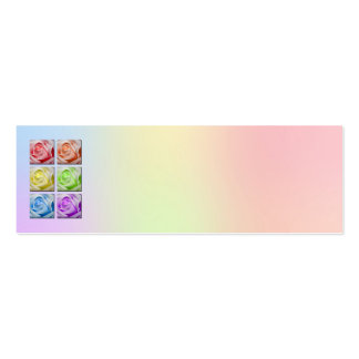 Macro Rainbow Roses Wedding Place Name Card Business Card Template