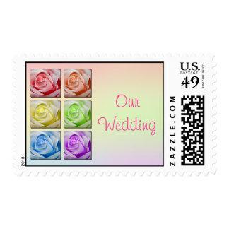 Macro Rainbow Roses Wedding Postage Stamp