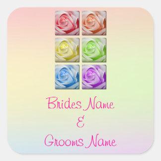 Macro Rainbow Roses Wedding Stickers