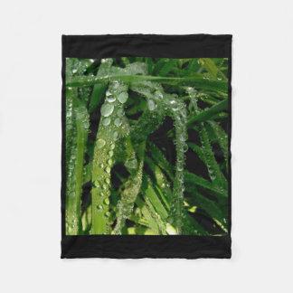 Macro Raindrops Waterdrops Grasses Fleece Blanket
