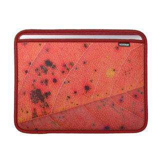Macro roja de la hoja fundas para macbook air