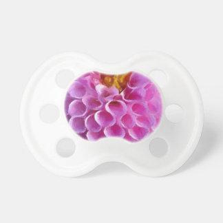 Macro rosada de la flor de la dalia chupetes para bebés