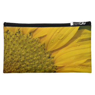Macro Sunflower With Raindrops Cosmetic Bag