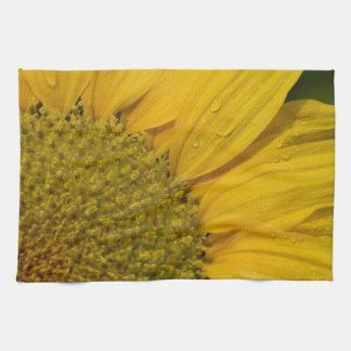 Macro Sunflower With Raindrops Kitchen Towel