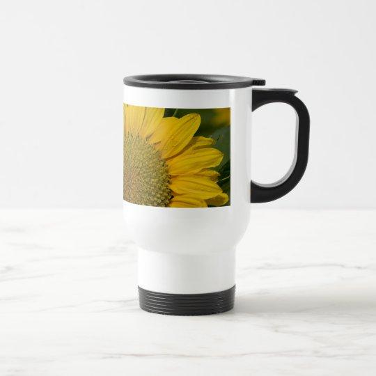 Macro Sunflower With Raindrops Travel Mug