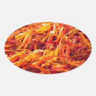 Macro view on fragrant saffron closeup oval sticker