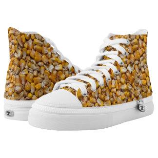 Macro yellow corn printed shoes