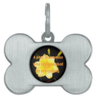 Macro Yellow Daylily Night Photography Poet Quote Pet ID Tag
