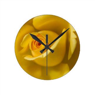Macro Yellow Rose Round Clock