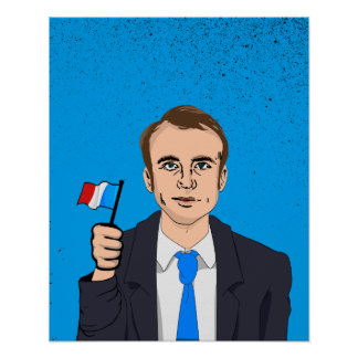 Macron Cartoon with French Flag Poster