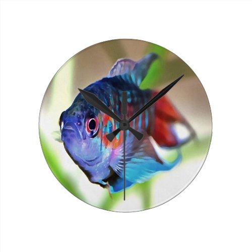 Paradise Fish Round Clock