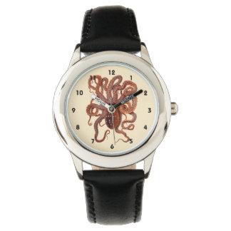 Macropus del pulpo del vintage, animales acuáticos reloj