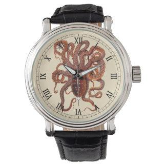 Macropus del pulpo del vintage, animales acuáticos reloj de mano