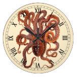 Macropus del pulpo del vintage, animales acuáticos reloj redondo grande