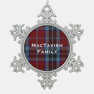 MacTavish Plaid Pewter Snowflake Ornament