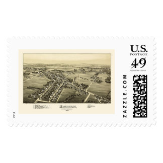Macungie, mapa panorámico del PA - 1893 Timbres Postales