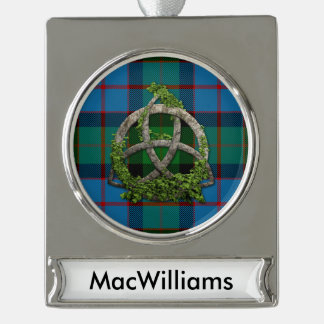 MacWilliams Tartan And Celtic Trinity Knot Silver Plated Banner Ornament