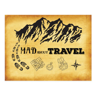 Mad about travel retro vintage style Postcard
