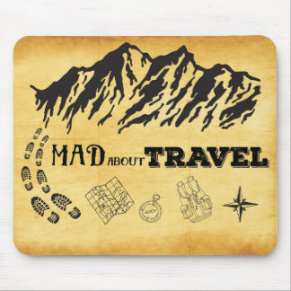 Mad about travel retro vintage style quote mouse pad