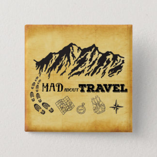 Mad about travel retro vintage style quote pinback button