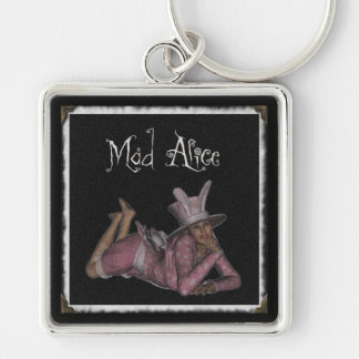 Mad Alice Snapshot 1 Silver-Colored Square Keychain