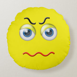 Mad Angry Emoji Round Pillow