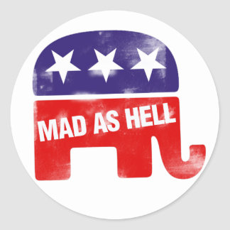Mad as Hell Republican Classic Round Sticker