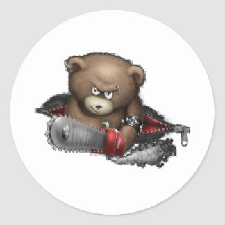 Mad Bear Chainsaw Classic Round Sticker