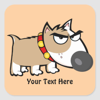 Mad Brown Dog (customizable) Square Sticker