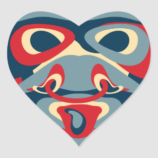 mad bull heart sticker