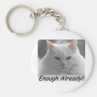 Mad Cat Enough Already Keychains