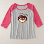 Mad Cat Smile by Aleta Plus Size Raglan T-Shirt