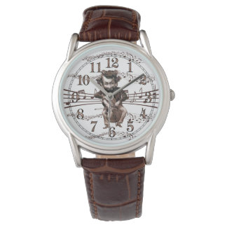 Mad Cellist in Sepia Tones Vintage Humor Wrist Watch