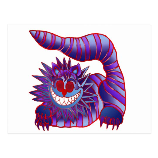 Mad Cheshire Cat Fire Postcard