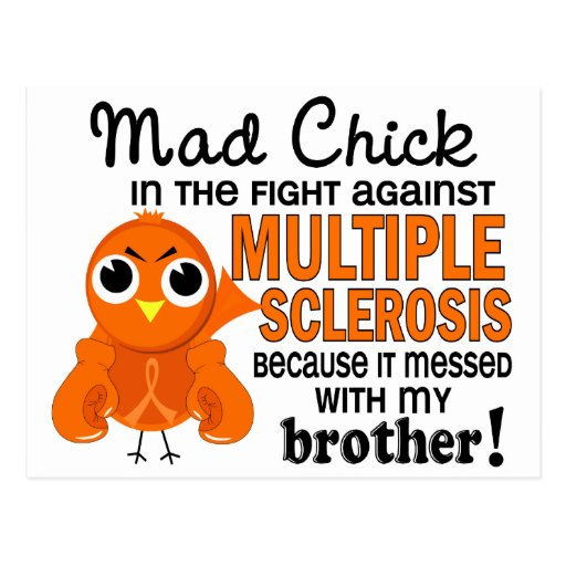 Mad Chick 2 Brother Multiple Sclerosis MS Postcard