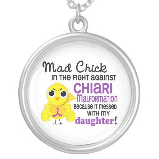 Mad Chick 2 Chiari Malformation Daughter Round Pendant Necklace