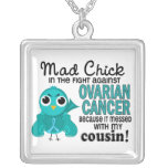 Mad Chick 2 Cousin Ovarian Cancer Square Pendant Necklace