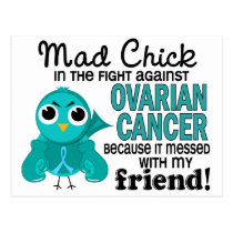 Mad Chick 2 Friend Ovarian Cancer Postcard