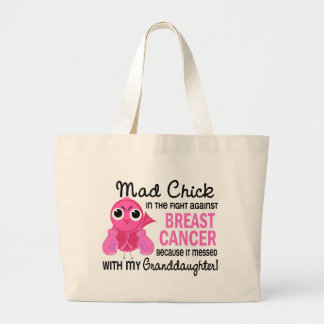 Mad Chick 2 Granddaughter Breast Cancer Jumbo Tote Bag