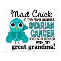 Mad Chick 2 Great Grandma Ovarian Cancer Postcard