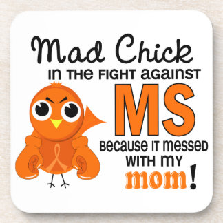 Mad Chick 2 Mom Multiple Sclerosis MS Beverage Coasters