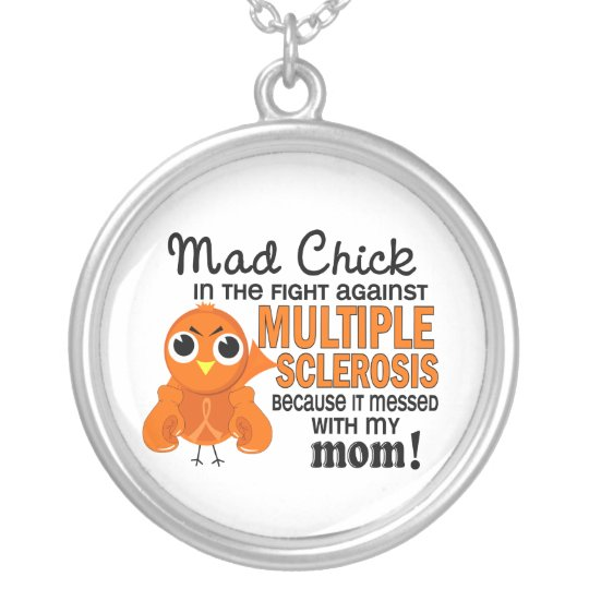 Mad Chick 2 Mom Multiple Sclerosis MS Silver Plated Necklace