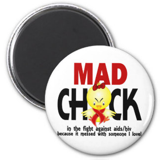 Mad Chick In The Fight AIDS 2 Inch Round Magnet